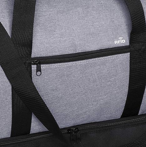 avec Poche de Technologie de S/écurit/é RFID et Compartiment /à Chaussures S/épar/é Sac Multifonction de Sport de Voyage en Polyester 600D R/ésistant 50x28x24 Gris//Noir MKTOSASA