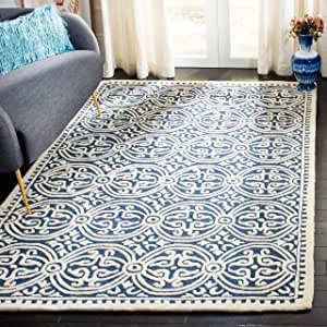 Safavieh Cambridge Collection CAM123G Handmade Moroccan Wool Area Rug, 4' x 4' Square, Navy Blue/Ivory