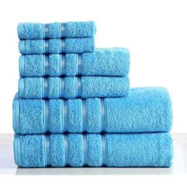 Wicker Park 550 GSM Ultra Soft Luxurious 6-Piece Towel Set (Sea Blue): 2 Bath Towels, 2 Hand Towels, 2 Washcloths, Long-Staple Combed Cotton, Spa Hotel Quality, Super Absorbent, Machine Washable