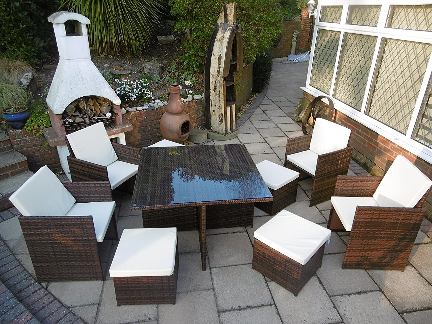 pe rattan gartenm bel cube set esstisch stuhl fu schemel 9 st ck 4 st hle 4 hocker braun jetzt. Black Bedroom Furniture Sets. Home Design Ideas