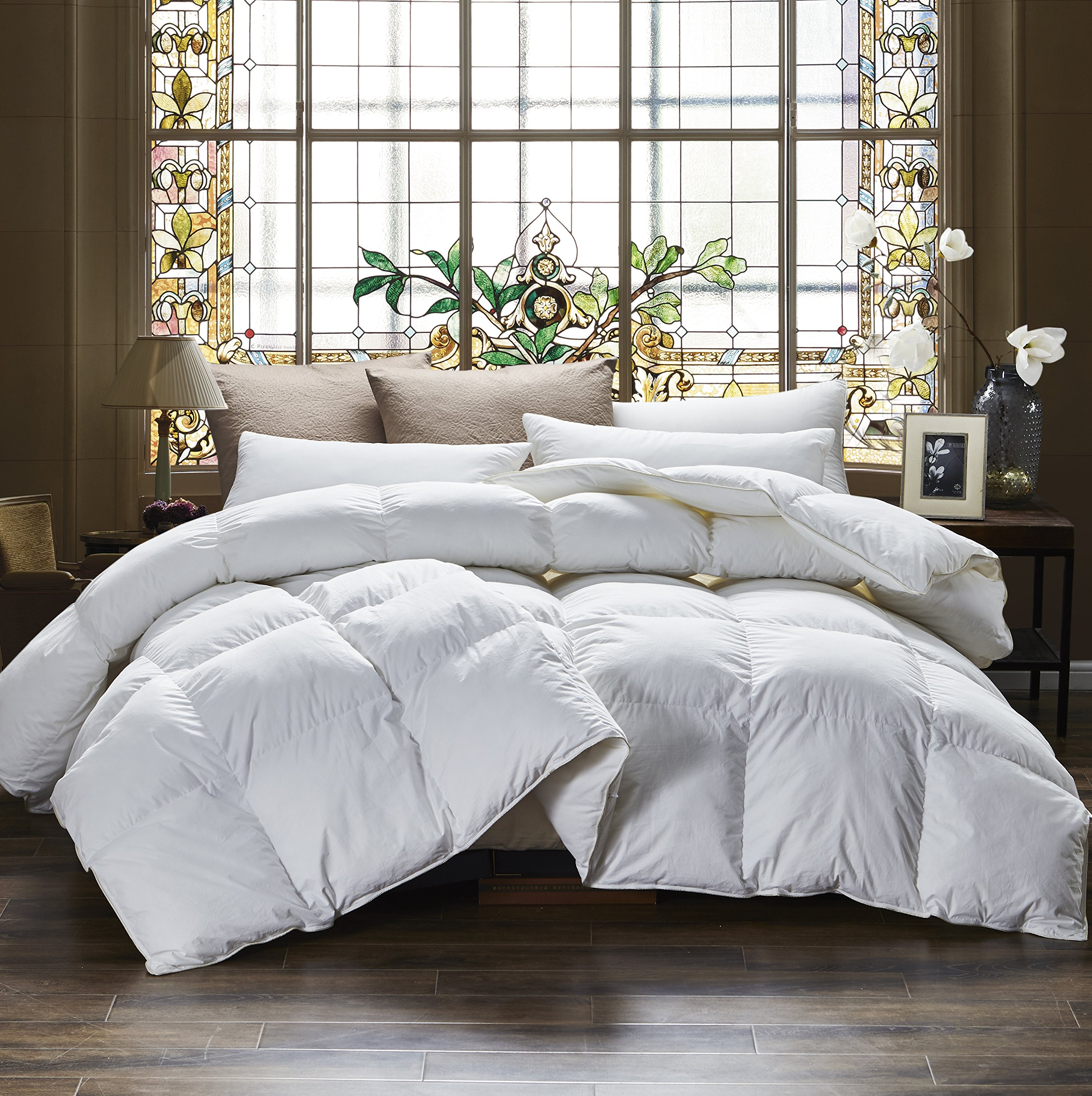 Egyptian Bedding 1000 Thread Count Full / Queen Oversized Siberian Goose Down Comforter - 100% Egyptian Cotton, 750FP, 50oz, 1000TC, White, Allergy Free