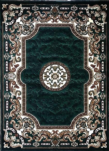 Traditional Area Rug Hunter Green Persian Kingdom Design D123 5 Feet 2 Inch X 7