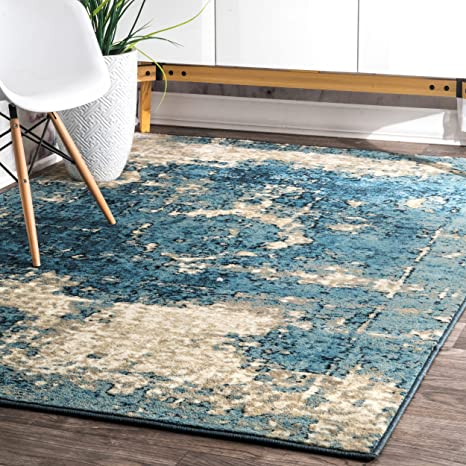 Nuloom Vintage Lindsy Distressed Area Rug 5 3 X 7 8 Blue Home Kitchen