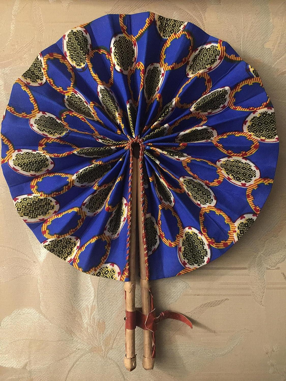 African Fabrics Kente Folding Leather Authentic Hand Fan Multicoloured GHANA
