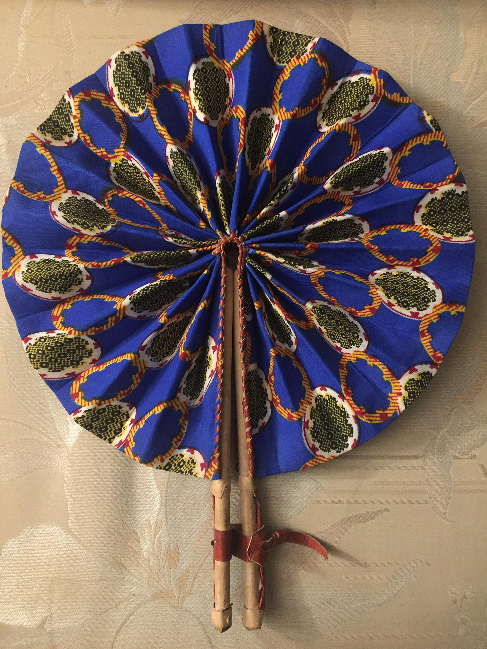 African Fabric Print Folding Fan by Doors To Africa