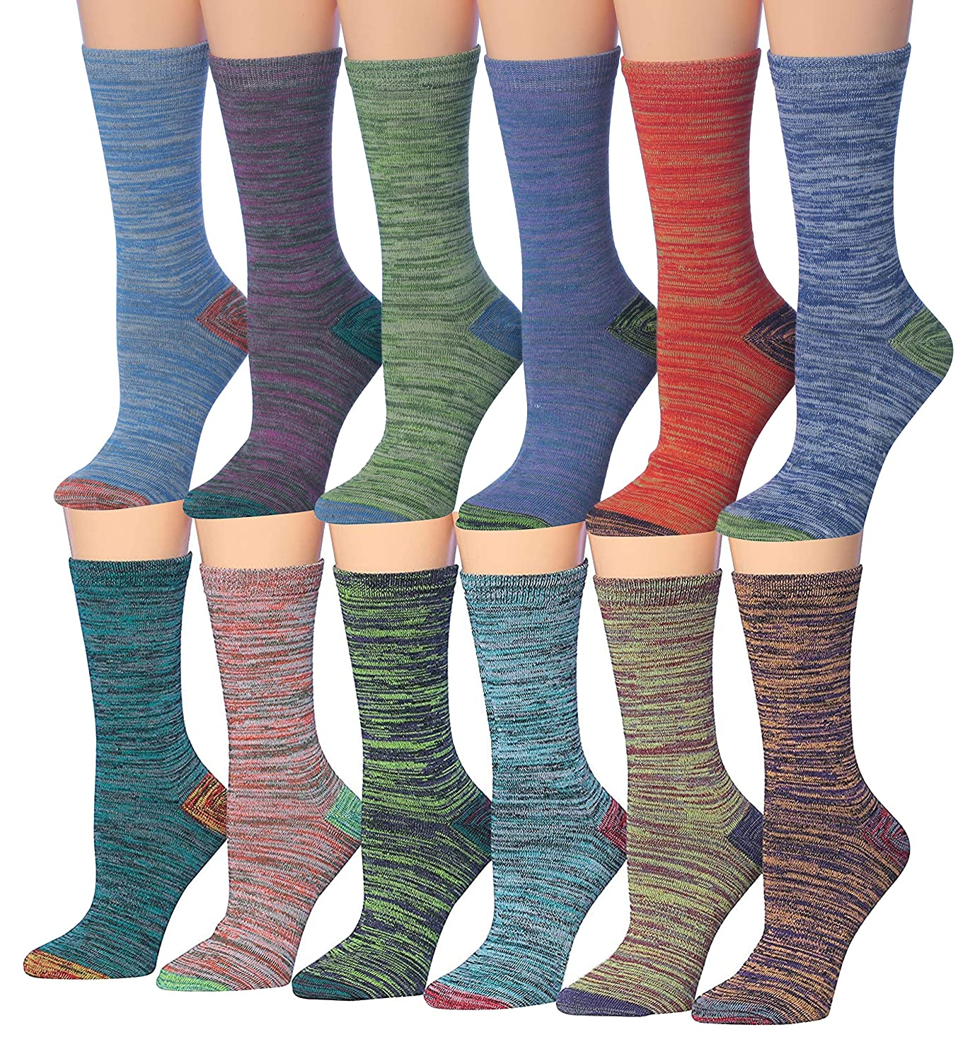 Space Dye. Vintage colors Tipi Toe Women's 12 Pairs colorful Patterned Crew Socks