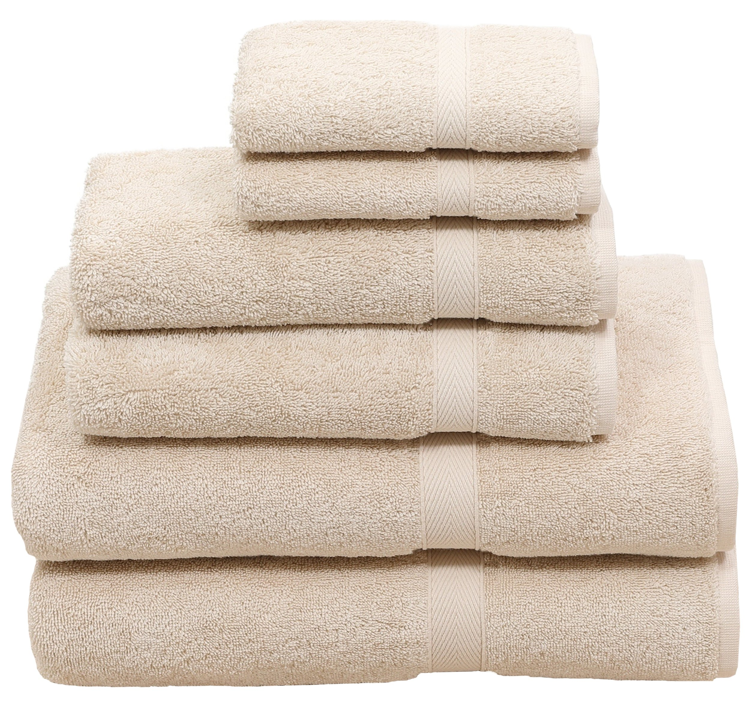 Premium 6 Piece Towel Set - 2 Bath Towels, 2 Hand Towels and 2 Washcloths - Beige - Cotton - Machine Washable, Hotel Quality, Super Soft and Highly Absorbent - by HomeLabels