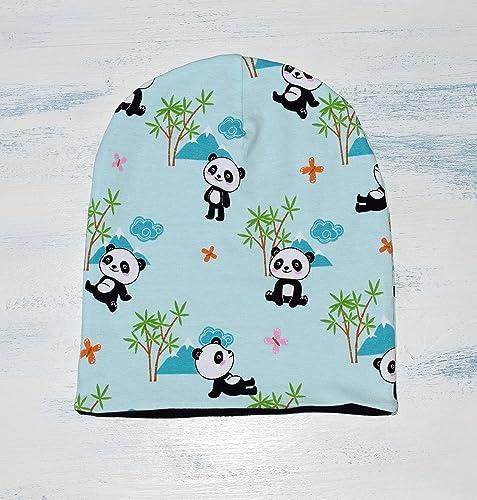 Cappello Pandas hipster unisex reversibile per neonato dc2effd92ae0