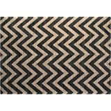 Chesapeake Jute/Cotton Printed Area Rug, 5-Feet by 7-Feet, Grey Chevron