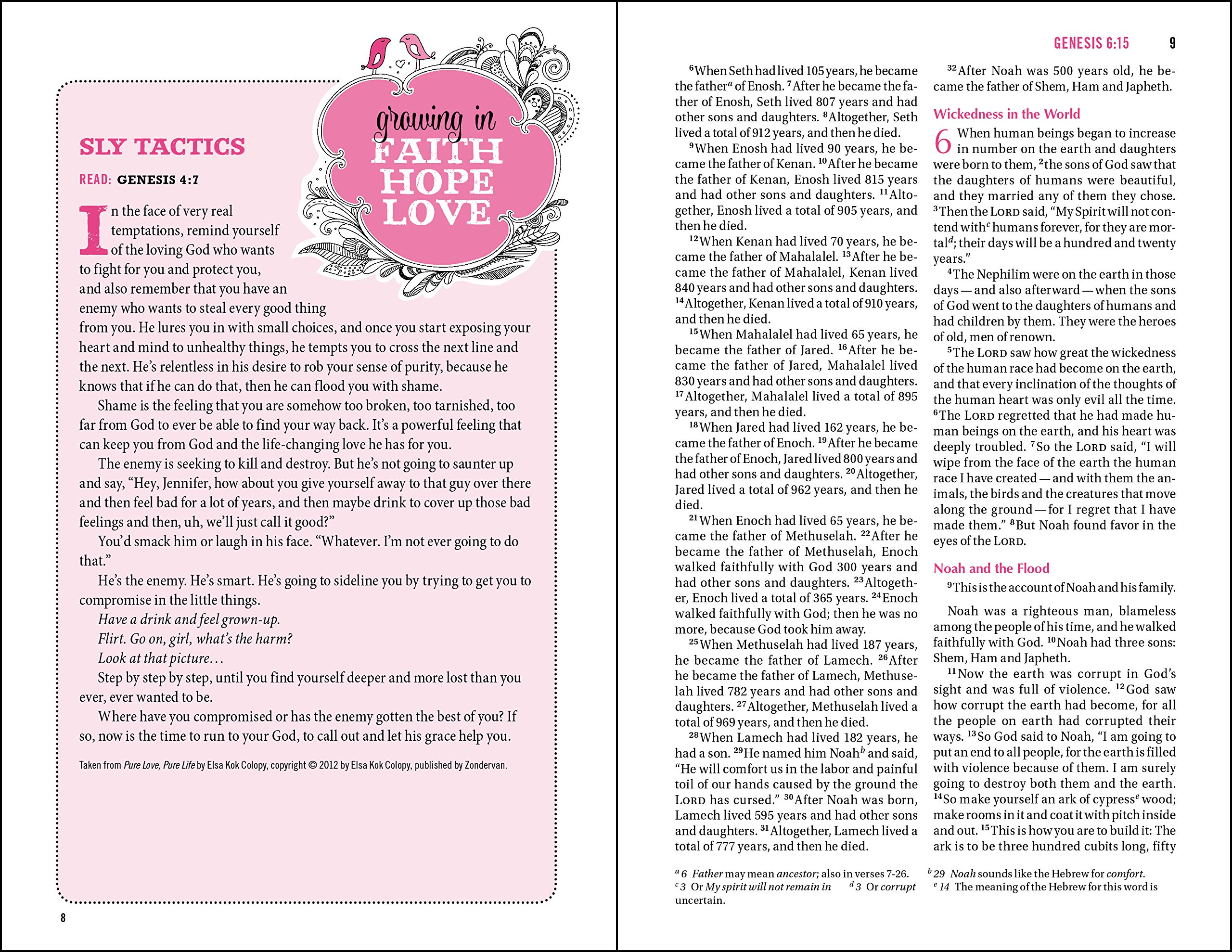 NIV, Bible for Teen Girls, Leathersoft, Pink, Printed Page Edges: Growing in Faith, Hope, and Love by HarperCollins Christian Pub.