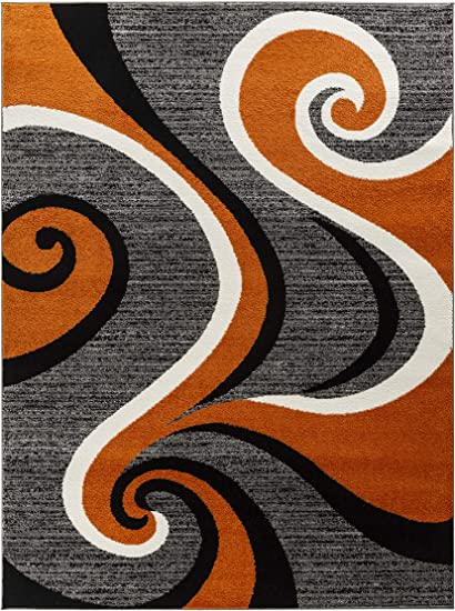 Oxford Collection Style 22 Orange Black Grey White Modern Swirl Area Rug Other Sizes Avail 2x3 Door Mat Size Amazon Co Uk Kitchen Home