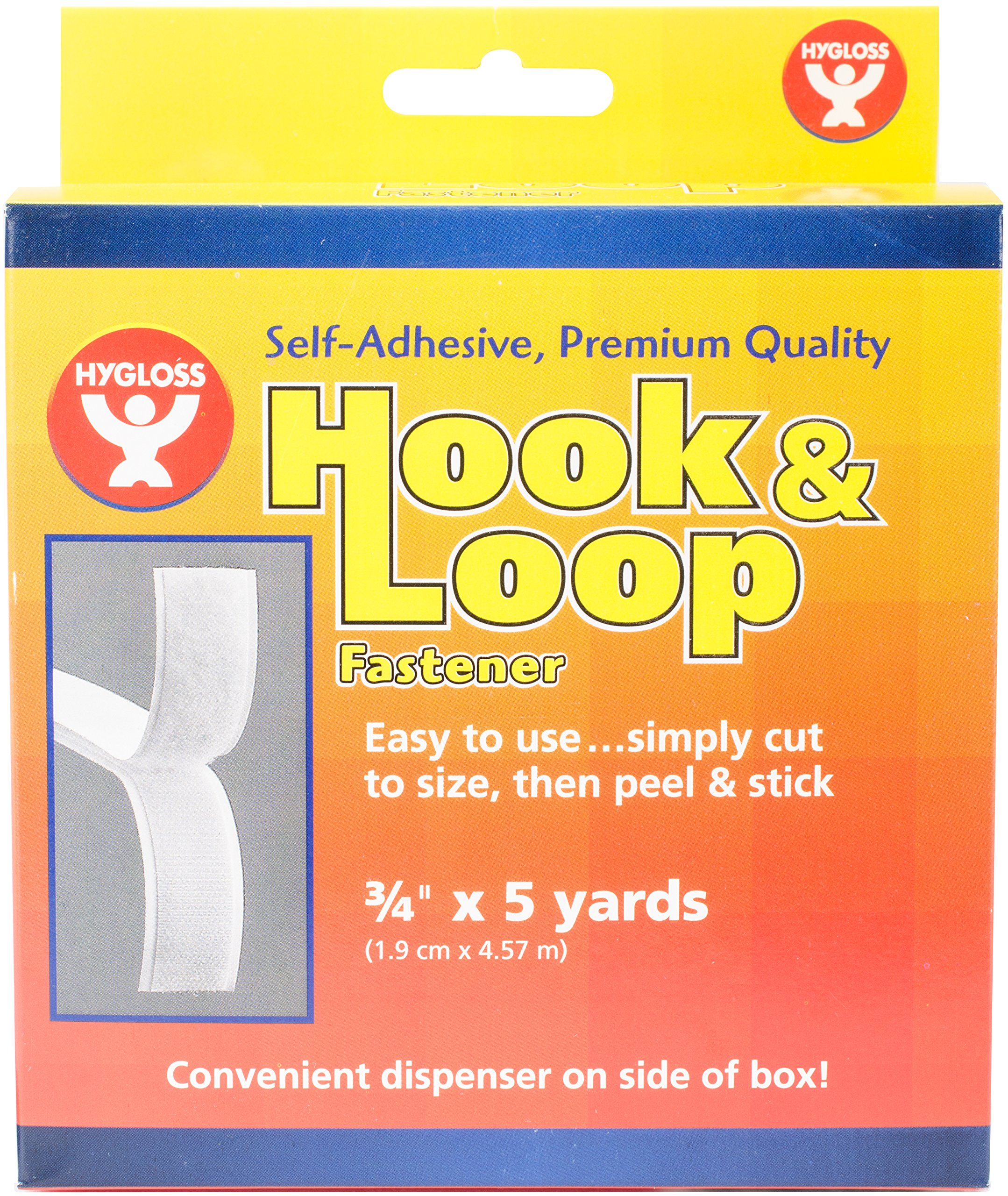 Hygloss Products Self Adhesive Strips - 15 Feet x 3/4 Inch Hook and Loop Fastener Sticky Back Tape With Dispenser, White