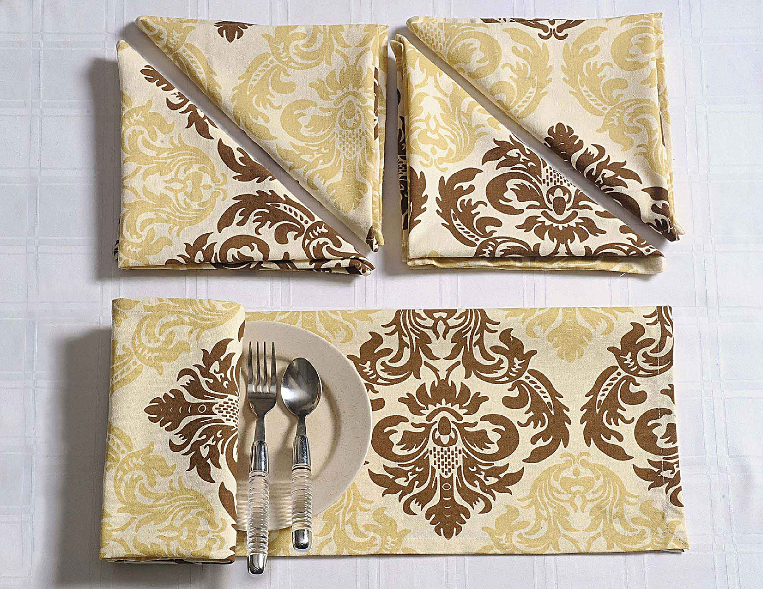 Shalinindia Patterned Cotton Party Table Decorations Dinner Napkins Set of 24 - 20'' x 20'' -Premium Table Linens for the Dining Room - Beige and Chocolate Brown Damask