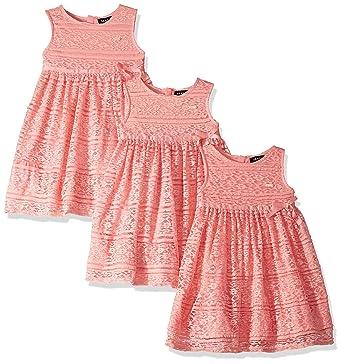 Dkny Girls Toddler Casual Dress Empire Waist Lace Flamingo