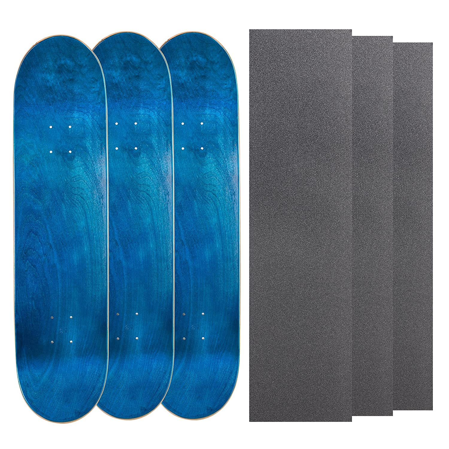 Cal 7 Blank Maple Skateboard Decks with Grip Tape Bundle of 3, Combinations