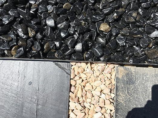 Canto rodado Negro Pulido (1000 kg, 12-24 mm.): Amazon.es: Jardín