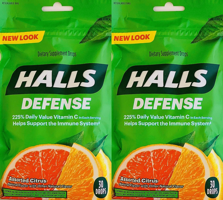 Halls Defense Vitamin C Assorted Citrus Cough Drops, 30-Count (2 Pack) (2 Pack)