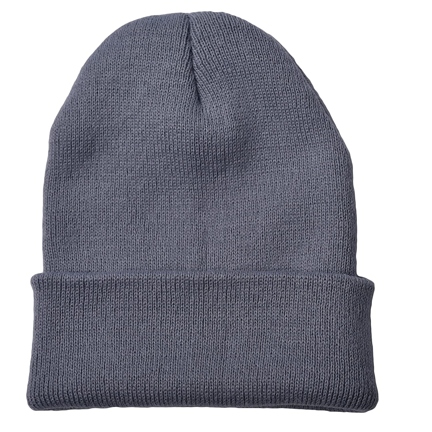 Dark Gray Woogwin Beanie Cap Winter Hats for Men Women Knitted Warm Hat Solid Color