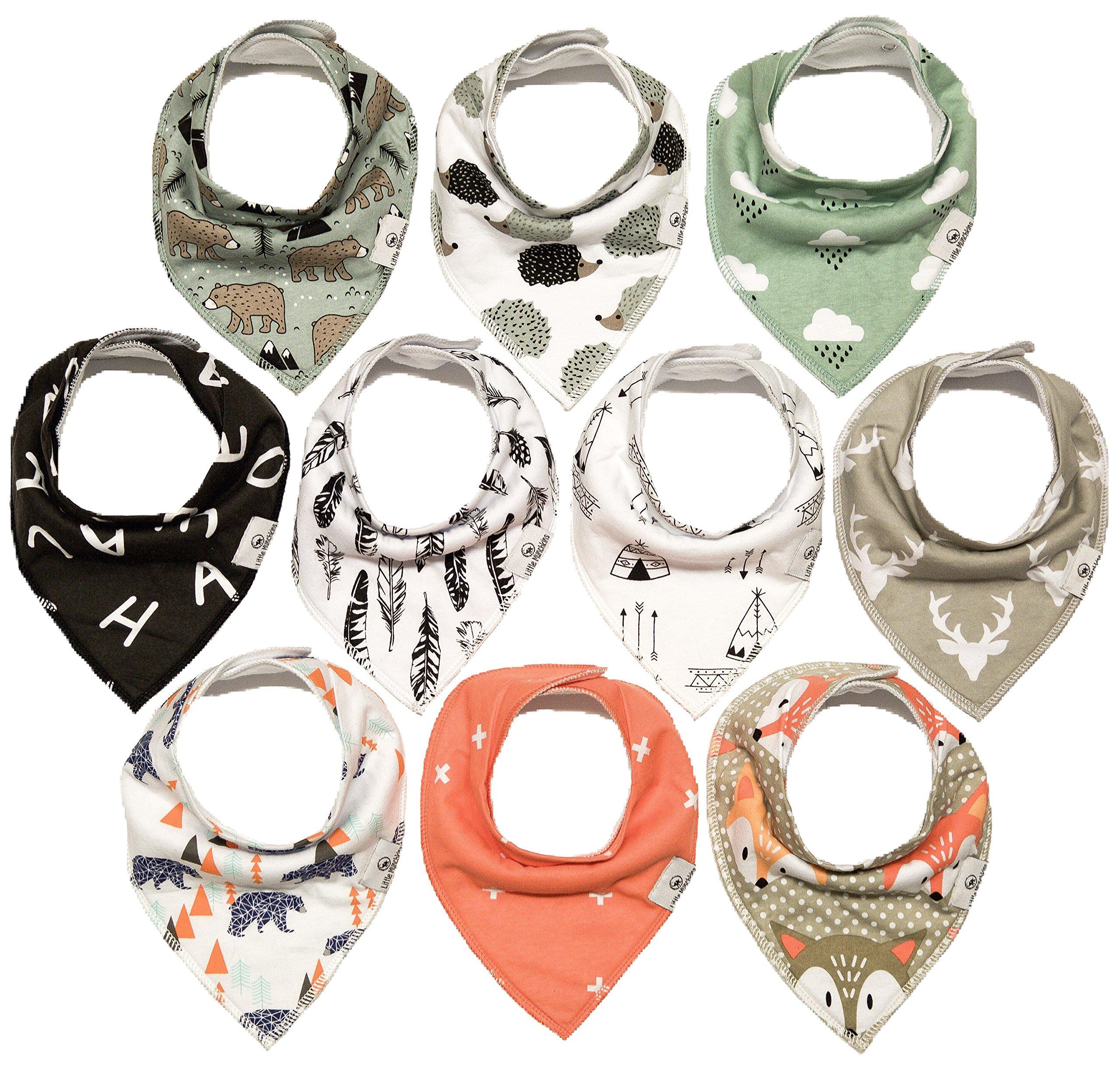 10-Pack Bandana Bibs Little Munchkins Handkerchief Bibs, Baby Drool Bibdanas, Organic Cotton, Super Absorbent, 10 Stylish Designs for Baby Boys Girls Toddler, Adjustable Snaps