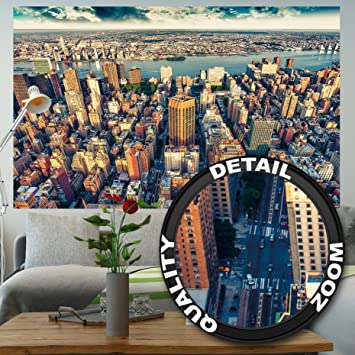 Great Art Fototapete New York City Skyline   Wandbild Dekoration  Sonnenuntergang Manhattan Amerika USA Deko
