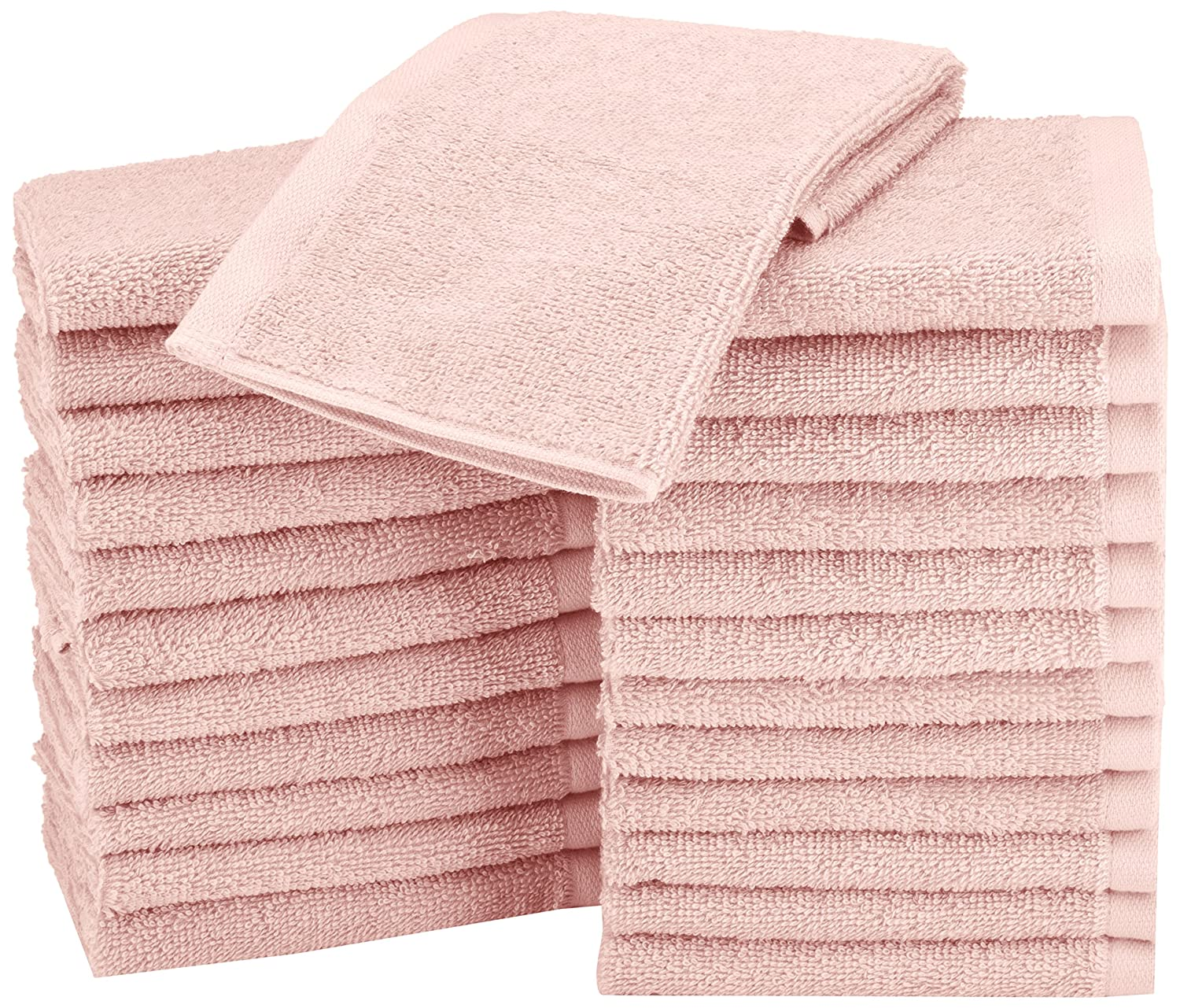 AmazonBasics Washcloth - Pack of 24, Petal Pink