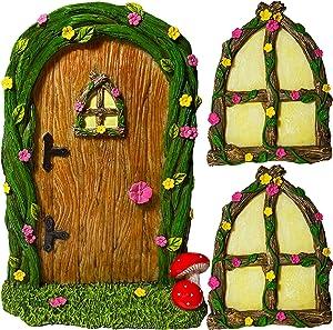 Fairy Garden Miniature Door and 2 Windows for Tree - Yard Decoration Accessories Set of 3 pcs