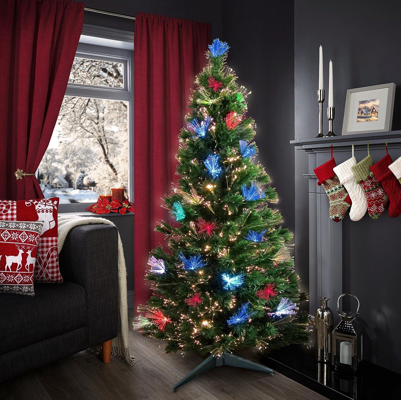Pre Lit Christmas Tree in Green Xmas Fibre Optic LED Lights 4ft 5ft 6ft 7ft