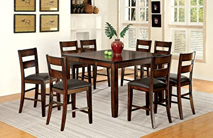 Furniture Of America Dallas 9 Piece Transitional Pub Set, Dark Cherry