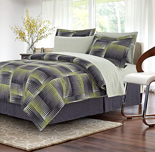 Twin Brown /& Grey Shadow Box Lime 6-Piece Bed-in-Bag