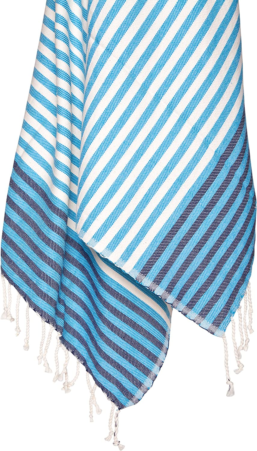 Amazon Com Buldano 100 Cotton Turkish Towel Beach 33 X 70 Inches Turquoise Blue Striped Hand Woven Home Kitchen