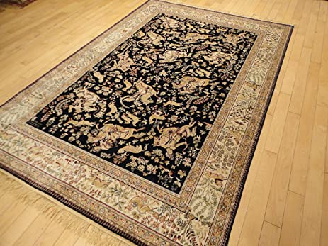 Silk Persian Traditional Rug Area Rugs 5x8 Rug Living Room Area Rug Navy Rug  Dining Room