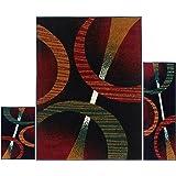 "Home Dynamix Ariana Arcata 3 Piece Area Rug Set | Warm & Plush Red, Black, Green | Living Room, Dining Room, Bedroom | Modern Bold Swirl Geo Design | 4'11""x6'11"", 1'8""x4'11"", 1'8""x2'8"""