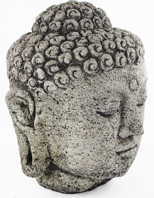 Cabeza de Buda grande estatua de hormigón cemento tallado Buda cabeza: Amazon.es: Jardín