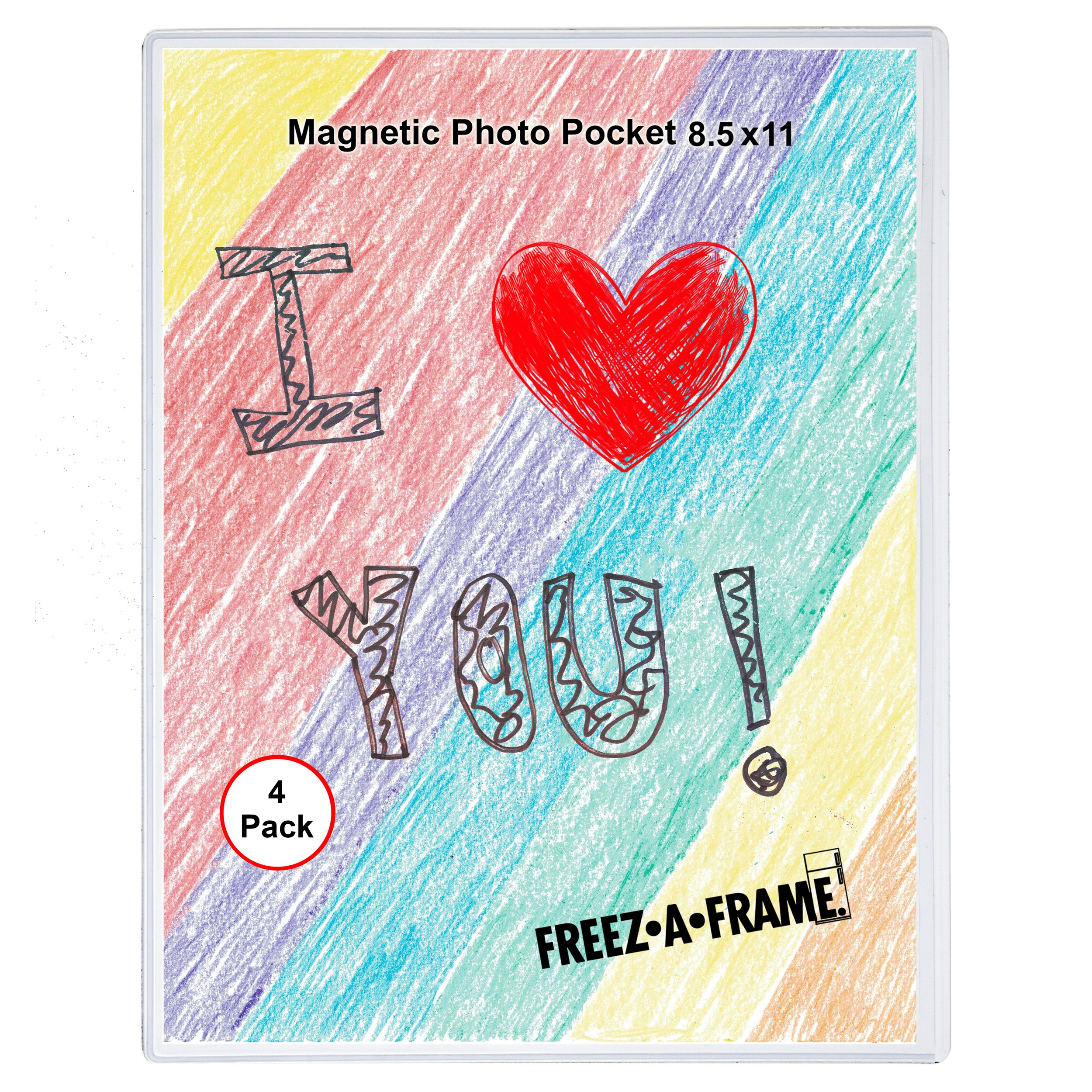 4 Pack 8.5 X 11 Magnetic Picture Frame Use for 8 X 10 Photo, Children's Artwork Frame, Magnetic Calendar Plastic Refrigerator Insert Holder Sleeve Pocket by Freez-a-Frame Made in the USA by Gift Boutique