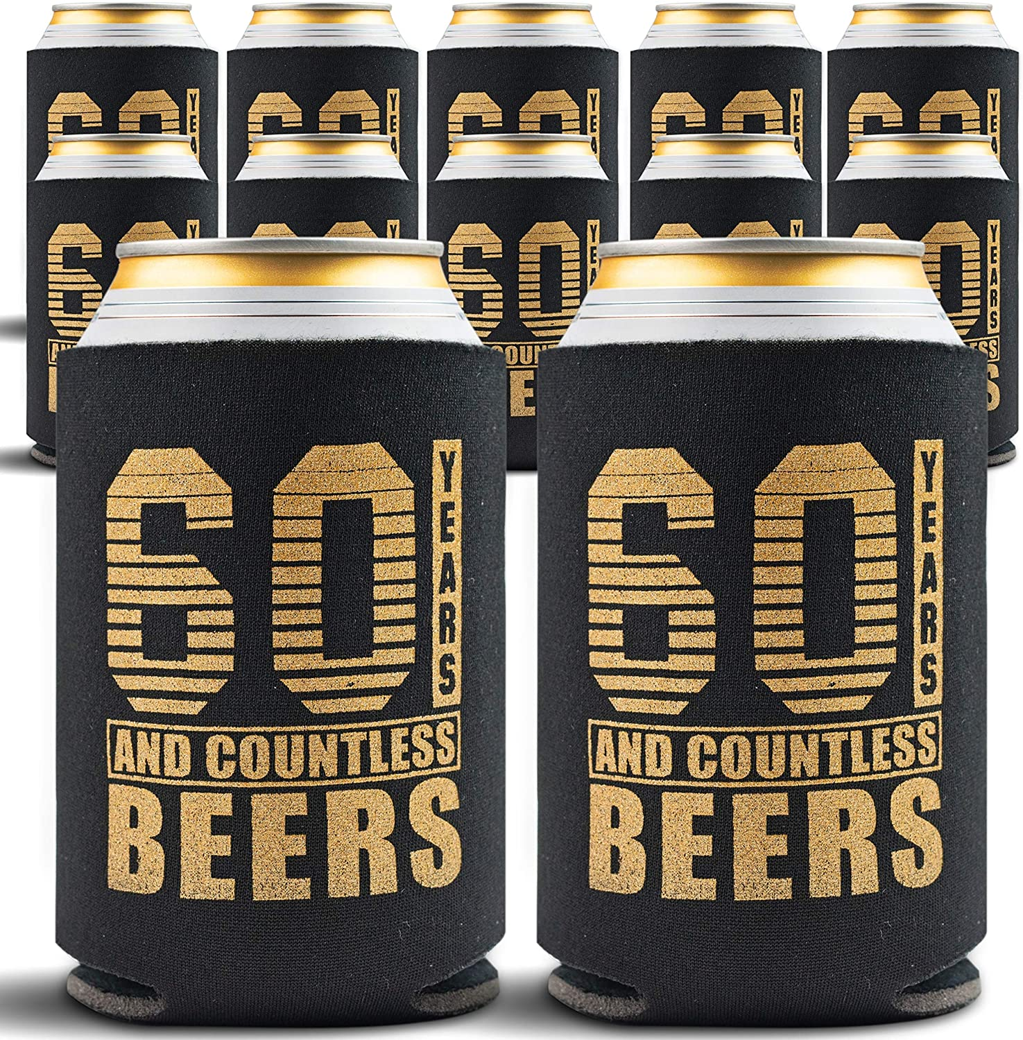 60th Birthday Decorations Beverage Can Coolers 60th Birthday Gift Ideas Beer Sleeve Insulated Drink Holder Party Favors 60 Year Old Birthday Gifts For Men Women 12 Pack Black