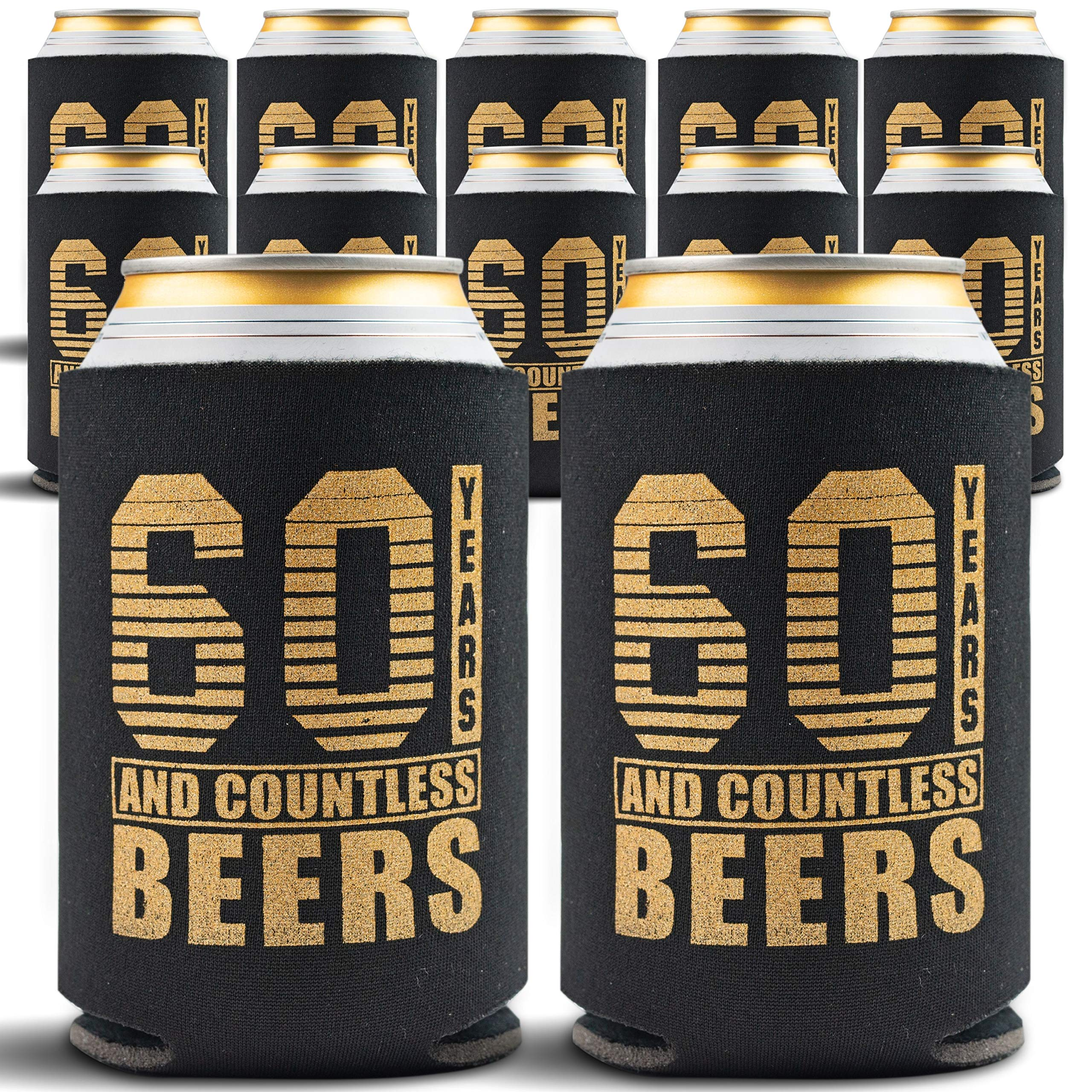 60th Birthday Decorations for Men - 12-Pack Party Can Coolers - 60th Birthday Gifts for Women - 60th Birthday Gift Ideas Beer Sleeve, 12 Insulated Sleeves, 60th Birthday Gifts for Men, Black and Gold by Gold Coastal
