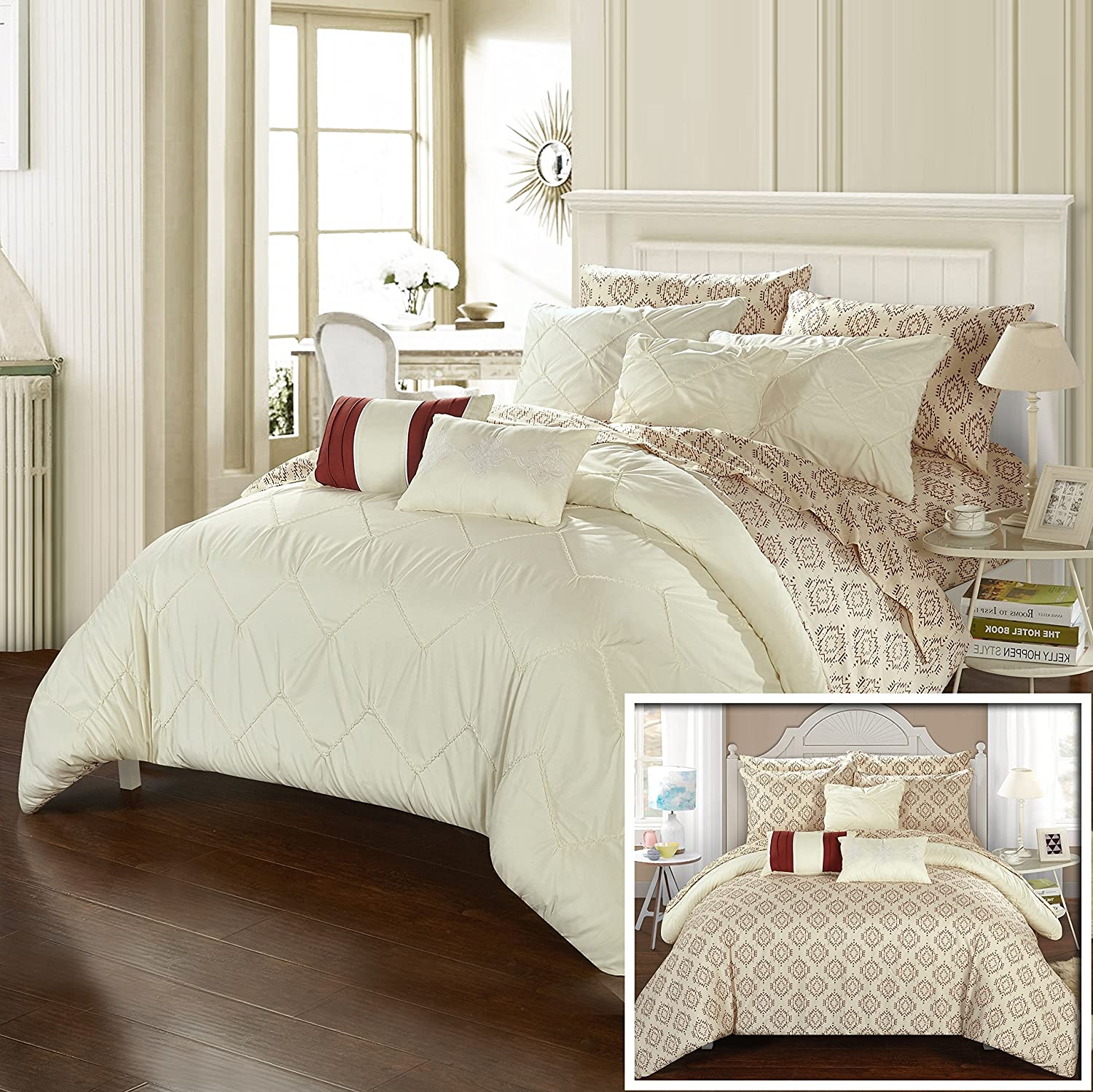 Perfect Home 10 Piece Danton Rope like Pinch Pleated REVERSIBLE Oversized & Overfilled Queen Bed In a Bag Comforter Set Beige