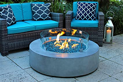 "AKOYA Outdoor Essentials 42"" Round Modern Concrete Fire Pit Table  w/Glass Guard and - Amazon.com: AKOYA Outdoor Essentials 42"