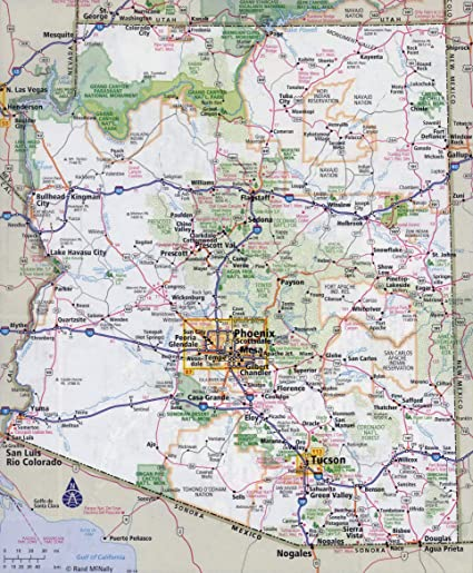 A Map Of Arizona State.Amazon Com Home Comforts Laminated Map Large Detailed Roads And