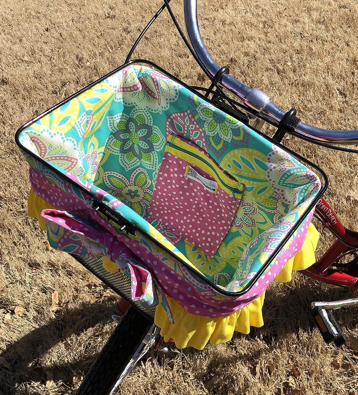 Ruffle Teal Yellow Floral and Polka dot Bike Basket Liner