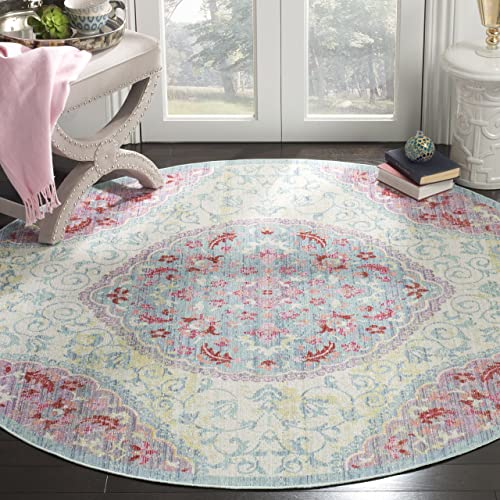 Safavieh Windsor Collection Premium Wool Round Area Rug, 6 Diameter, Light Grey Blue