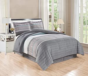 GrandLinen 3-Piece Queen Size Fine Printed Comforter Set Goose Down Alternative Bedding (Grey, Teal Blue, White, Stripe)