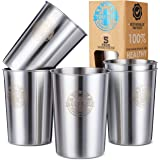 Stainless Steel Cups 10oz (Pack of 5) Great for Kids - Metal Drinking Glasses - Premium Stackable & Unbreakable