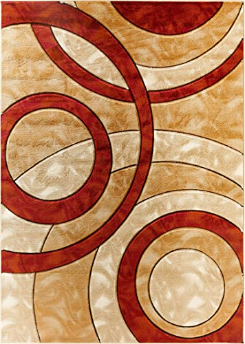 Glory Rugs Area Rug Modern 8×10 Dark red Circles Geometry Soft Hand Carved Contemporary Floor Carpet Fluffy Texture