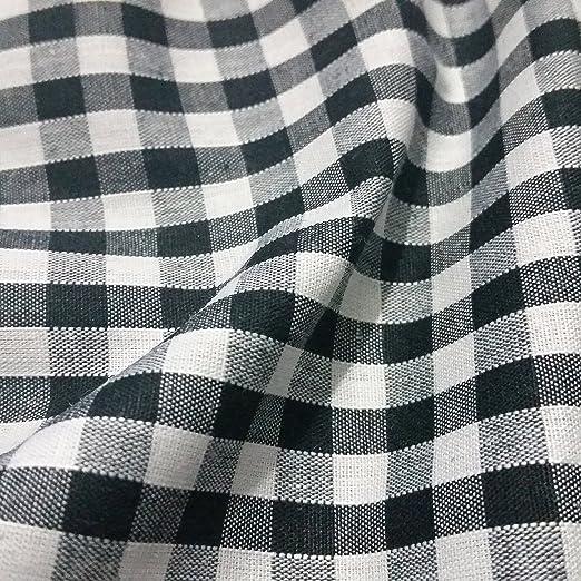 Tela a cuadros de 0,63 cm de poliéster y algodón, Blanco y Negro ...