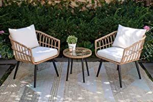 Quality Outdoor Living 65-YZ03HM Hermosa 3 Piece Chat Set, Tan Wicker + Linen Cushions