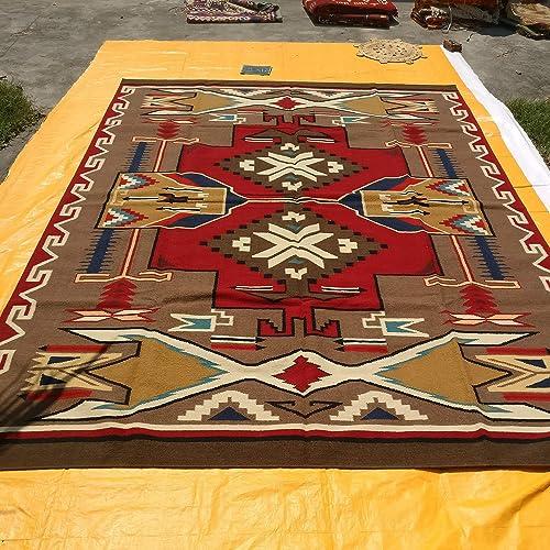 Southwestern Navajo Kilim Hand Woven Native American Geometrical Pattern 100 New Zealand Wool Hand Woven Transitional Area Rug, 9 x 12 , Red Kilim