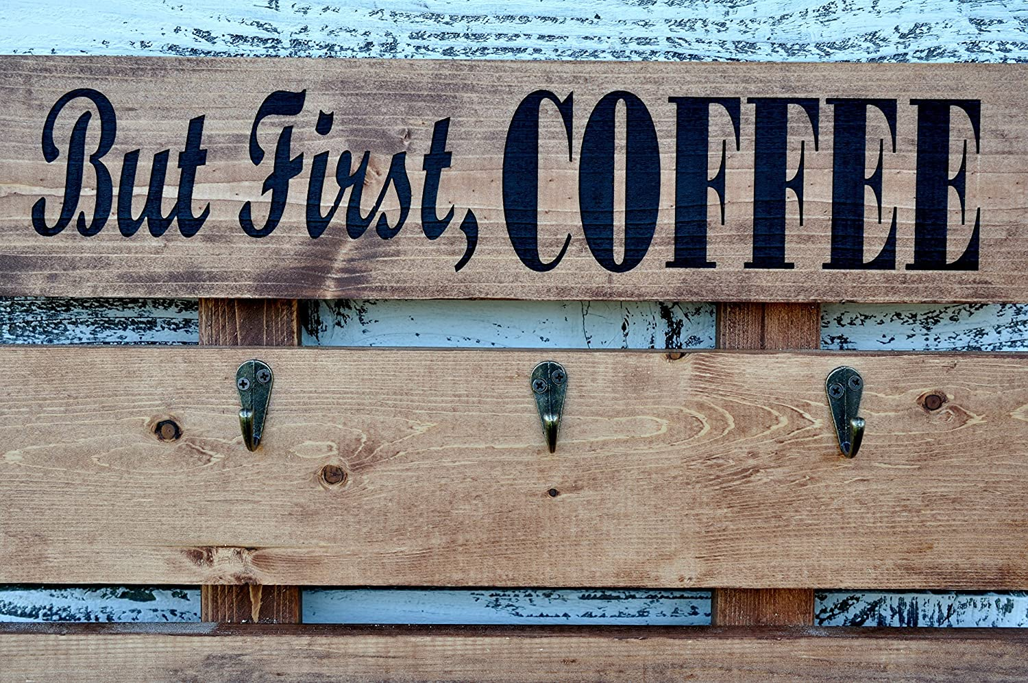 But First Coffee Rustic Pallet Wood Coffee Cups And