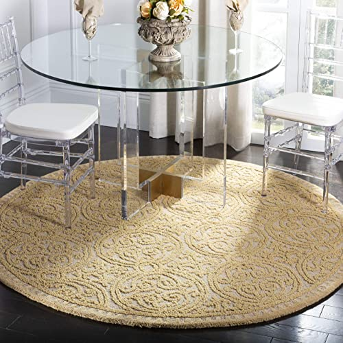 Safavieh Cambridge Collection CAM233A Handcrafted Moroccan Geometric Light Gold and Dark Gold Premium Wool Round Area Rug 6 Diameter