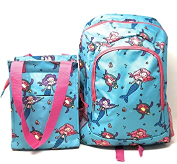 5a587268a6bc Kids Full Size Backpack with Side Mesh Pockets and Insulated Lunch Bag Box  Carrier (Mermaid